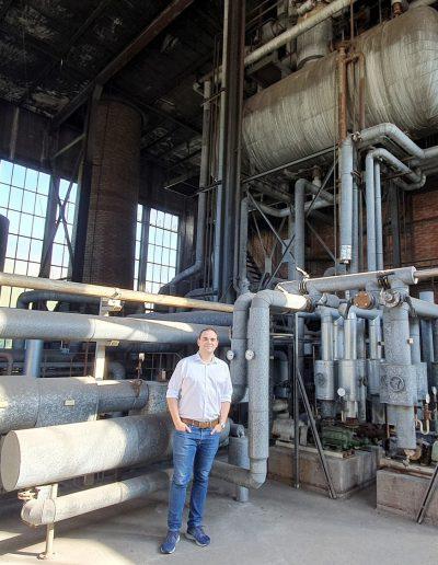 Besichtigung des Kesselhauses der Deckenfabrik